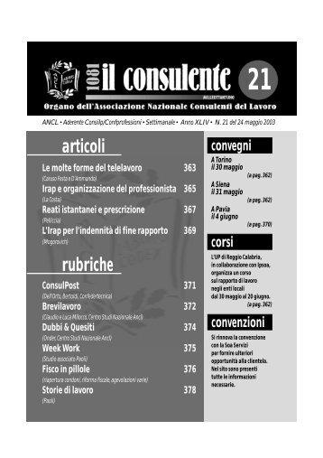 N. 21 del 24 maggio 2003 368 il consulente 1081 - Ancl