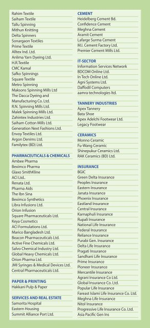 The list of the Companies