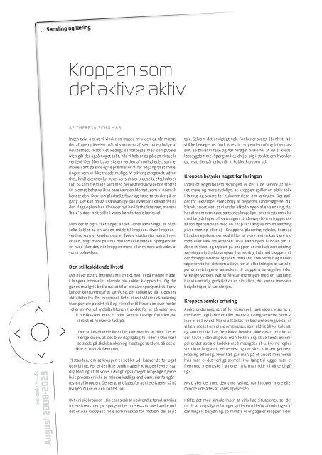 Kroppen som det aktive aktiv - Folkeskolen