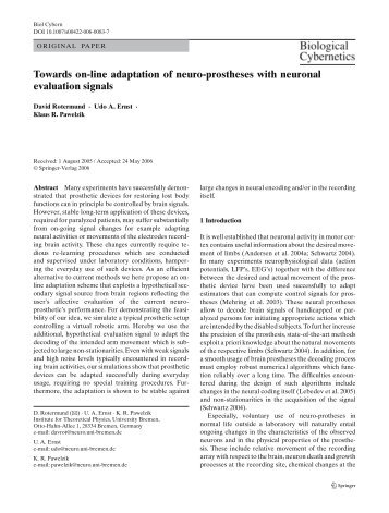 Towards on-line adaptation of neuro-prostheses with neuronal ...