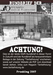 News der OGPI in Deutschland - Offensive gegen die Pelzindustrie