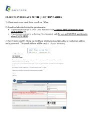 CLIENTS INTERFACE WITH QUESTIONNAIRES - Cerenade