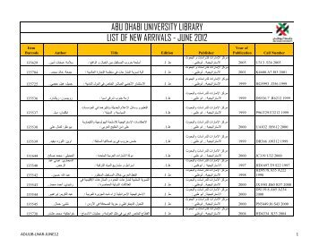 abu dhabi university library list of new arrivals - june 2012