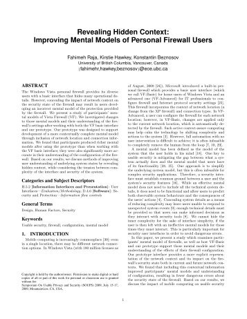 Improving Mental Models of Personal Firewall Users - CUPS