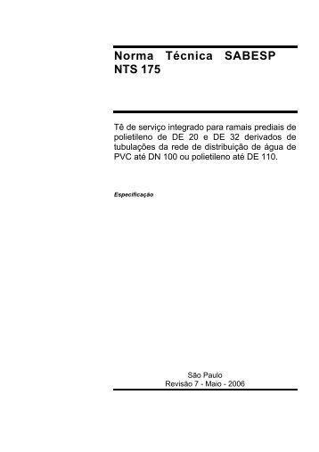 Norma Técnica SABESP NTS 175