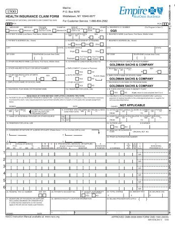 CMS-1500 Claims Form - ValueOptions