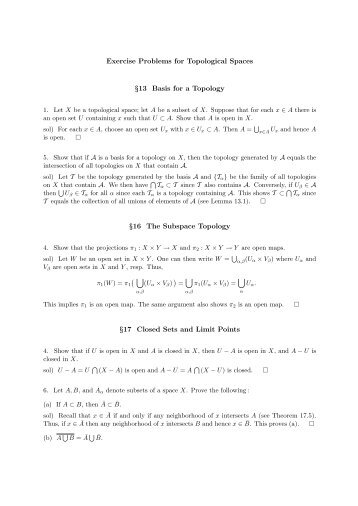 Exercise Problems for Topological Spaces §13 Basis for a Topology ...