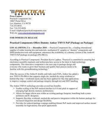 Practical Components Offers Dummy Amkor TMV® PoP (Package ...