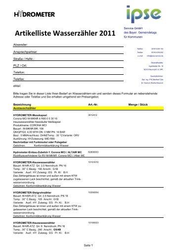 Artikelliste Wasserzähler 2011_neu - ipse-service.de