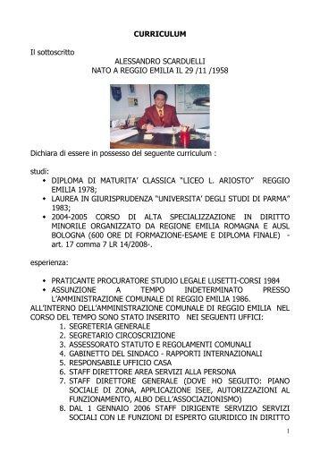 CV Alessandro Scarduelli - Provincia di Reggio Emilia