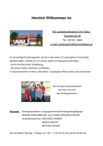 Zum Info-Blatt des Kindergartens - Gemeinde Berg