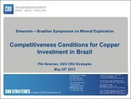 Competitiveness Conditions for Copper Investment in Brazil - ADIMB
