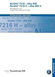 Nicrofer® 7216 - ThyssenKrupp VDM