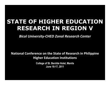Bicol Univ ZRC - CHED Zonal Research Center