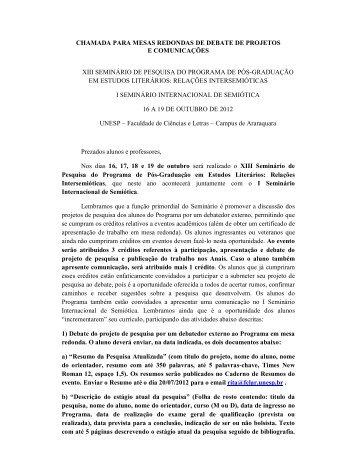 X - Faculdade de Ciências e Letras - Unesp