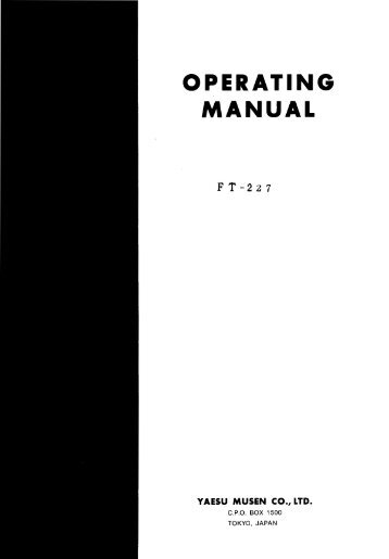 OPERATING MANUAL - Yaesu.com