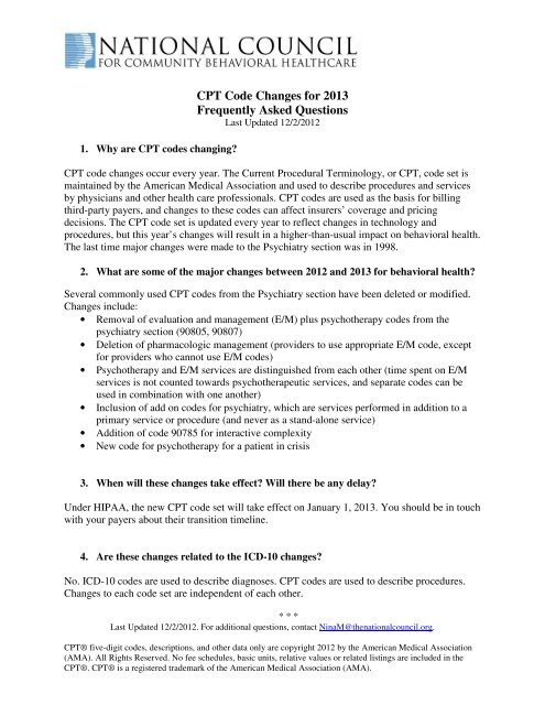 CPT Code Changes For 2013 Frequently Asked National