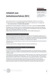 Infoblatt zum Aufnahmeverfahren 2013 - Fachhochschule Salzburg