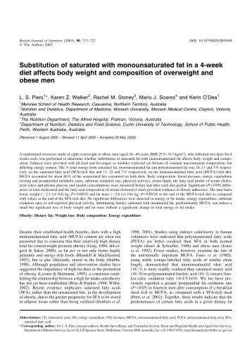 Substitution of saturated with monounsaturated fat in a 4-week diet ...