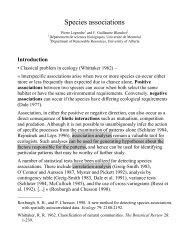 Species associations - Laboratoire de Pierre Legendre - Université ...