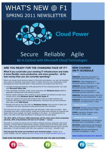 WHAT'S NEW @ F1 Secure Reliable Agile - F1 Computing Training