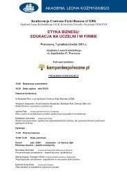 Program konferencji - Instytut Filozofii i Socjologii PAN