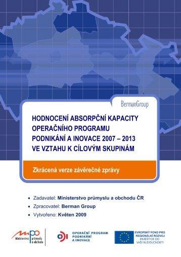 hodnocení absorpční kapacity operačního programu ... - CzechInvest