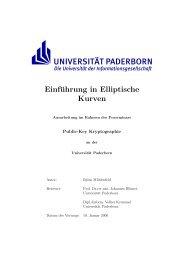 Einführung in Elliptische Kurven - Universität Paderborn