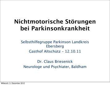 Nichtmotorische Störungen bei Parkinson