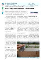 Nová stavební chemie PROFIMIX - Stavebnictví a interiér