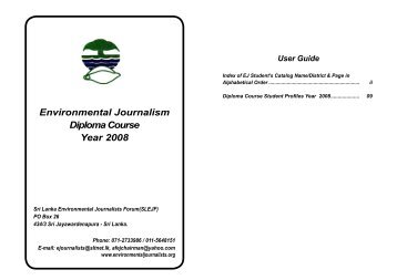 Environmental Journalism Diploma Course 08 - Year 2007