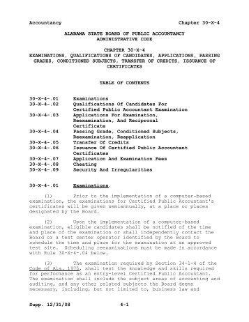 Alabama State Board of Public Accountancy Administrative Code
