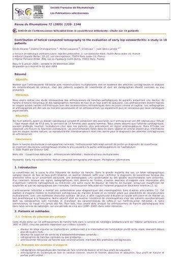 étude sur 18 patients - 72(2005) - Société Française de Rhumatologie