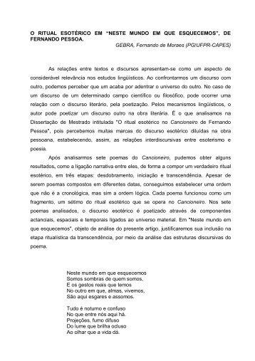 """O RITUAL ESOTÉRICO EM """"NESTE MUNDO EM QUE ... - UEM"""