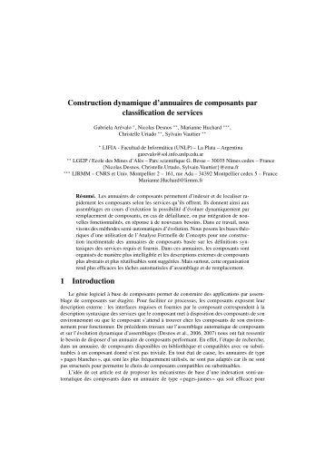Construction dynamique d'annuaires de composants ... - HAL - INRIA