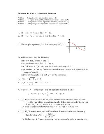 Problems for Week 1 - Additional Exercises 1. If f ( x ) = x + cos x, find ...