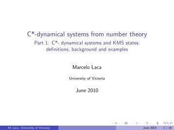 C*-dynamical systems from number theory - PIMS