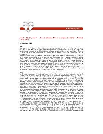CSJN - 09/12/2009 - «Rossi Adriana María c/Estado Nacional ...