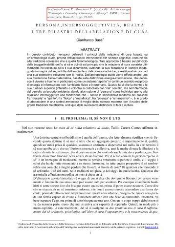 PERSONA,INTERSOGGETTIVITÀ, REALTÀ I TRE PILASTRI ... - STOQ