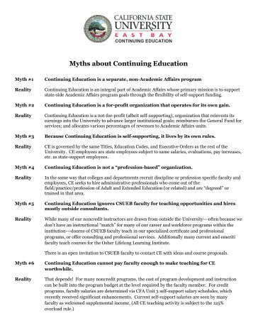 10 Most Common Myths About Continuing Education