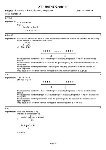 XT – MATHS Grade 11 – Equations
