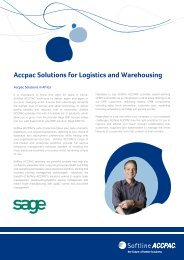 Accpac Solutions for Logistics and Warehousing 2010 - Sage ERP