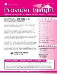 Provider news letter December 12-21-05.qxd - Intermountain.net