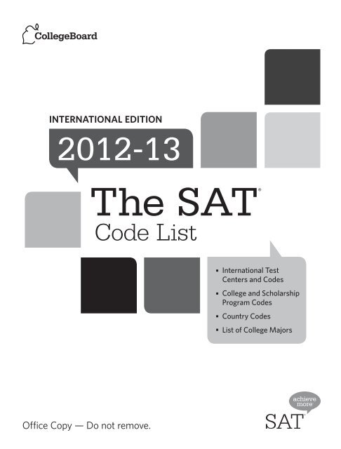 Using this Code List Booklet - SATs - College Board