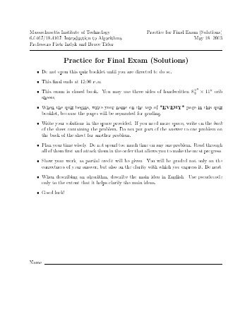 Massachusetts Institute of Technology Practice for Final Exam ...