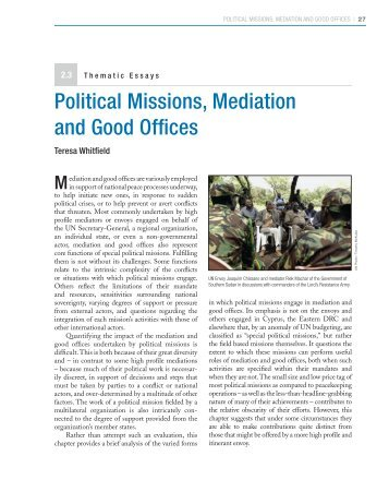 Political Missions, Mediation and Good Offices - Center on ...