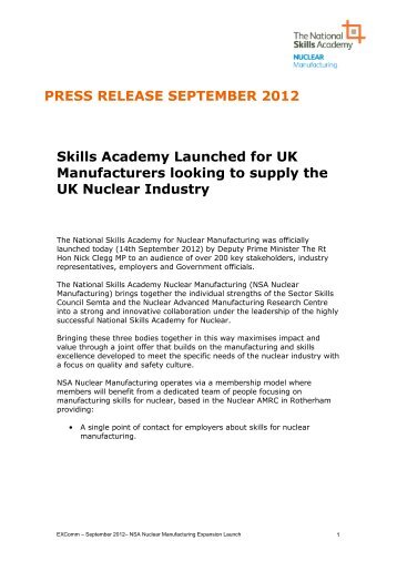 NSANM Launch Sept 2012.pdf - National Skills Academy for Nuclear