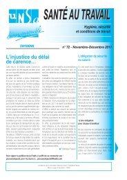 Santé au travail n°72 - Nov-Dec 2011 - Unsa