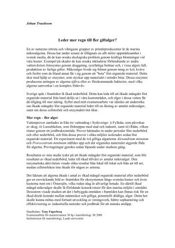 Leder mer regn till fler giftalger? - IT - Lunds universitet