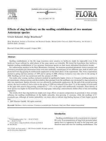 Effects of slug herbivory on the seedling establishment of two ...